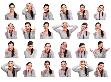 emotions faces: Young woman showing several expressions, isolated on white background.