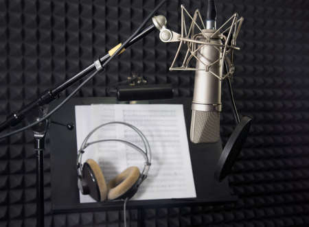 Condenser microphone in vocal recording room  Stock Photo