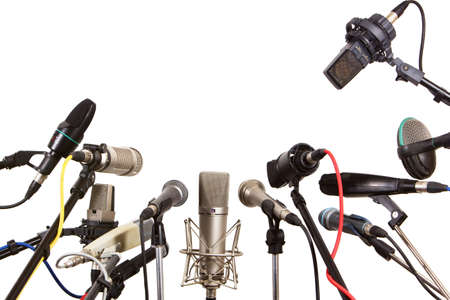 Conference meeting microphones prepared for talker - isolated on white background Reklamní fotografie - 27586250