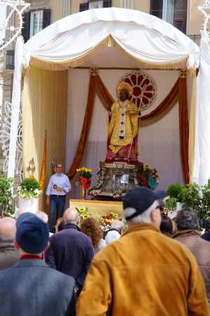 believers: Bari, Southern Italy, 05.09.2016 - celebration of Saint Nicholas, Piazza del Ferrarese, crowds of believers to see the statue of the saint