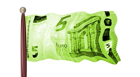 flag with five euro note Banque d'images