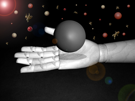 ball on the wooden hand in 3D