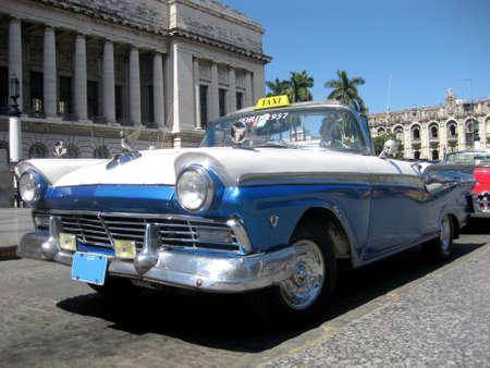 Blue and white old cabrio car in Havana Cuba