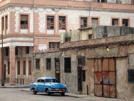 A blue old car parked in a street in Havana (cuba)