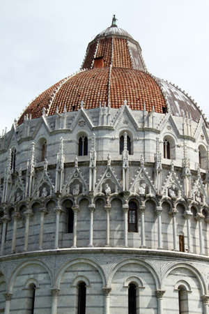 Closeup view of baptistery in Pisa, Italy  photo