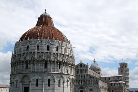 Famous Miracle square in Pisa  Italy , cloudy sky photo