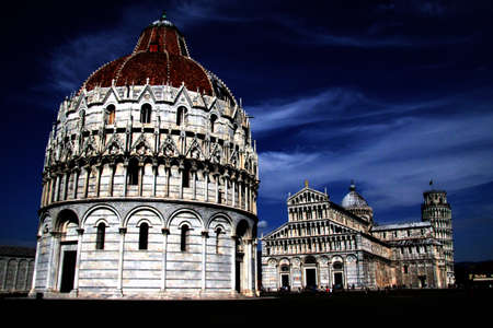Famous Miracle square in Pisa, dark view photo
