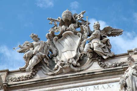 waterleiding: Detail van de Trevi s waterwerken in Rome, Italië Stockfoto