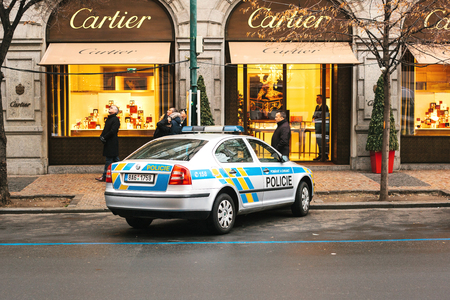 Prague, Czech Republic - December 25, 2016 - The police on the streets. Patrol car on Christmas day in Prague. Strengthening of security measures during public holidays. Christmas in Europe.