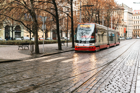 tramcar: Prague, Czech Republic - December 24, 2016 -Tram public transport on the street. Daily life in the city. Everyday life in Europe.