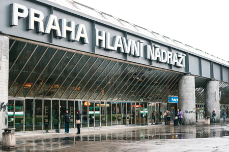 busses: Prague, Czech Republic, December 24, 2016: Entrance to the main bus station in Prague. Euro-trip.