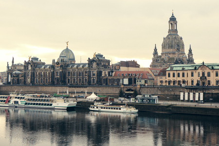 Dresden panorama with Bruhl Terrace so called Balcony of Europe , the Church of Our Lady and the Elbe, Dresden, Germany. Retro style. Imagens