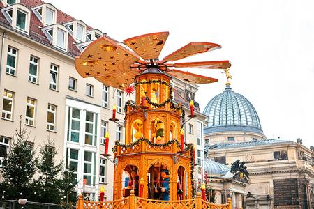 striezelmarkt: Christmas market Striezelmarkt. Dresden, Germany. Celebrating Christmas in Europe. Stock Photo