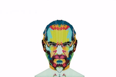 Christmas Island, Australië, 20 mei 2018: een illustratie in de kunststijl in de vorm van een mozaïek Steve Jobs - een getalenteerd persoon en de oprichter van de internationale onderneming Apple