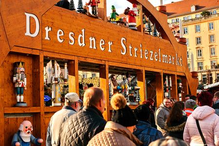 striezelmarkt: Dresden, Germany, December 19, 2016: Christmas market. Dresden, Germany. Celebrating Christmas in Europe.