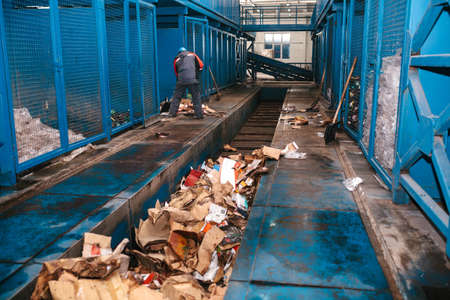 Waste processing plant. Technological process. Business for sorting and processing of waste. Stock Photo