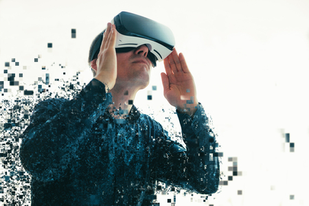 The man with glasses of virtual reality. Future technology concept. Modern imaging technology. Foto de archivo