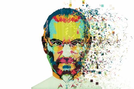 Weihnachtsinsel, Australien, am 8. August 2017: eine Illustration in der Kunstart in Form eines Mosaiks Steve Jobs. Fragmentiert durch Pixel.