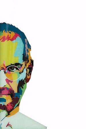 Christmas Island, Australië, 8 augustus 2017: een illustratie in de kunststijl in de vorm van een mozaïek Steve Jobs - een getalenteerd persoon en de oprichter van de internationale onderneming Apple