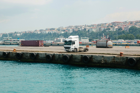 Cargo truck parked at the sea port. Asian side of Istanbul, Turkey.