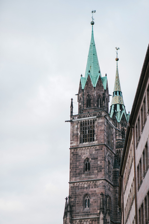 Fragment of the exterior of the church of St. Sebald in Nuremberg in Germany. One of the sights of the city.