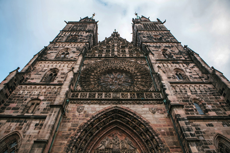 Church of St. Lorenz, one of the most significant and most beautiful medieval churches of the city of Nuremberg Bavaria, Germany and one of the first Lutheran church in Germany. Stock Photo