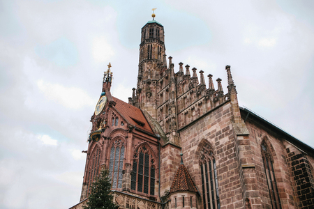 ministration: Church of Our Lady at Nuremberg Market Square. One of the main attractions of the city Stock Photo
