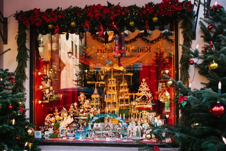 Germany, Rothenburg ob der Tauber, December 30, 2017: Storefront. Kathe Wohlfahrt Christmas decorations and toy shop. A popular toy store in Germany. Europe.