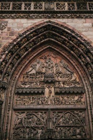ministration: Fragment of the exterior of the oldest church of St. Lorenz, one of the most significant and most beautiful medieval churches of the city of Nuremberg and one of the first Lutheran church in Germany.