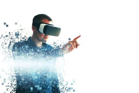 A person in virtual glasses flies to pixels. The man with glasses of virtual reality. Future technology concept. Modern imaging technology. Fragmented by pixels. Standard-Bild