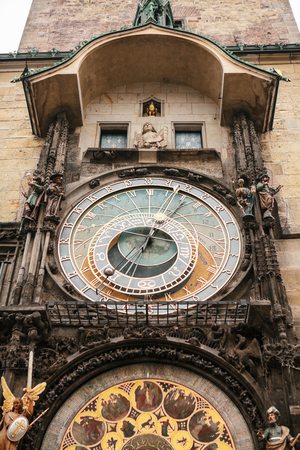 Astronomical clock on the main square in Prague in the Czech Republic. Stock Photo