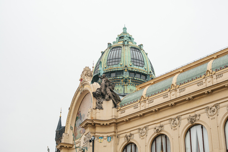 The exterior of a public house or also called a municipal house is one of the attractions of the Republic Square in Prague in the Czech Republic. The building is built in the Modernist style.