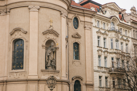 Exterior of the Church of St. Nicholas in the Old Town Square in Prague, Czech Republic. Religious building.