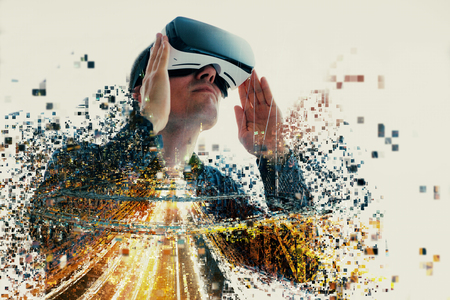A person in virtual glasses flies to pixels. The man with glasses of virtual reality. Future technology concept. Modern imaging technology. Fragmented by pixels. Banque d'images