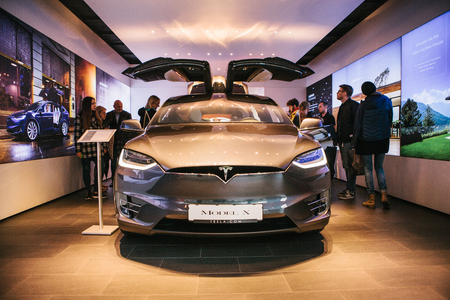 Presentation of an electric vehicle Tesla model X at the Tesla motor show in Berlin. Editorial
