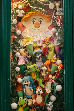 prague december 13 2016 christmas shop window decorated with soft toys characters