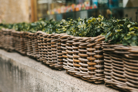 decorative balcony: Street decor. Series of beautiful wicker baskets with outdoor plants Stock Photo