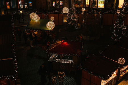 Prague, December 13, 2016: Night Christmas Decoration of the main square. Night Christmas market in the city square. Christmas in Europe.