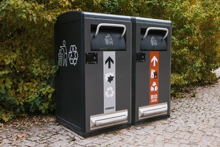 Modern smart bins. Waste collection. Separate collection of garbage and biodegradable waste.