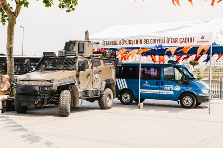 Istanbul, July 15, 2017: A military machine and a police car in the Buykeshehir district of Istanbul. Strengthening of security measures during the high tourist season. Authorities.