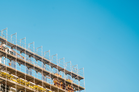 Building construction. Unfinished object of construction of a new building. Stock Photo