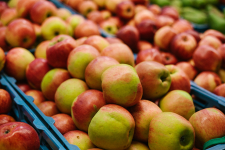 Fresh apples. Natural local products on the farm market. Stock Photo