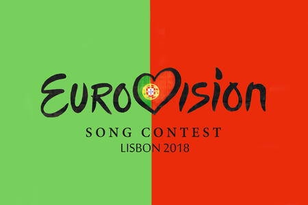 illustration on red and green background Eurovision Song Contest 2018 Lisbon