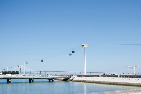 funicular or ropeway and public transport through gulf or river or channel in Lisbon in Portugal.