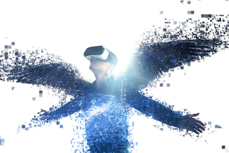 The person in glasses of a virtual reality with wings is scattered on pixels. The concept of new technologies and technologies of the future.VR glasses