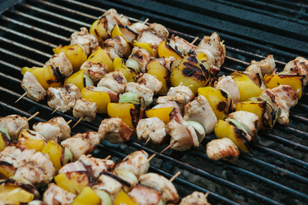 Close-up meat with pepper or paprika on skewers are roasted on a grate on coals