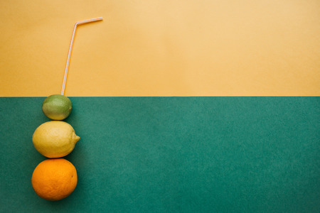 Conceptual photography. Citrus lemonade or juice from fresh fruits from which you can drink
