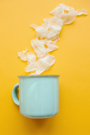Creative idea. A mug from which white petals flew out like steam from a hot drink in the winter Standard-Bild