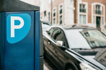 Close-up machine for paying parking. Automatic parking system Stock Photo