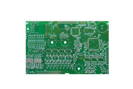 A board with microcircuits or a computer board is isolated on a white background. Foto de archivo